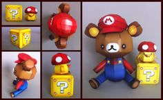 Adorable Mario Brothers bear papercraft (template at the link)