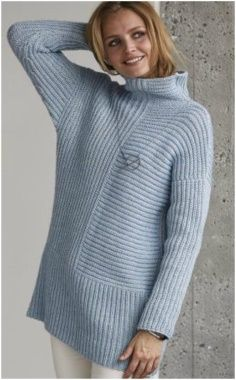 The combination of simple embossed patterns in this tunic with a loose high collar looks graphic and Crochet Hat For Beginners, Crochet Christmas Stocking Pattern, Diy Dress, High Collar, Hand Knitting, Knitwear, Diy Crochet, Knits, Ideas