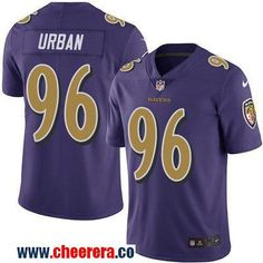 Men's Baltimore Ravens #96 Brent Urban Purple 2016 Color Rush Stitched NFL Nike Limited Jersey