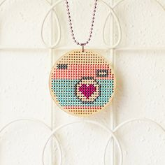 Wooden Cross-Stitch Pendant: Photo Love #2 by omgknits on Etsy, $36.00