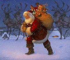 """""""Santa with Reindeer"""" -     """"Santa with Reindeer""""                                                                                        Oil on panel, 25.75"""" x 20""""    This painting has been sold to a private collector."""