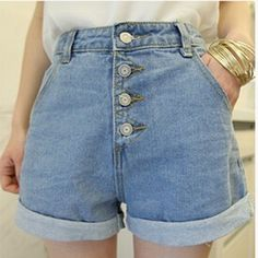 Coreia Do Estilo do vintage do Verão Shorts Jeans Quentes Para As Mulheres  Mais tamanho Shorts 040bf09933d1c