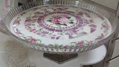 Broken China -TREASURY ITEM - Vintage China Mosaic Cake Plate- Mosaics-  Glass Fluted Edge-Pink Floral Vintage China- Beautiful Pink Flowers. $75.00, via Etsy.