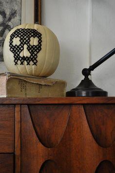 No-carve pumpkin decorating ideas: Cross stitch pumpkin. Now that's cool!