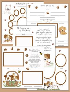 Puppy Premade Scrapbook Pages Layout - Baby's First Year Puppy Premade Scrapbook Pages make a unique keepsake and perfect gift. These 24 pages cover birth to One Year with beautifully added poems. Also available in Adoption and Twins #decampstudios