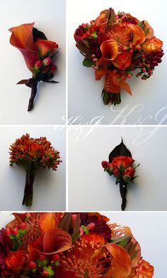 For a fall wedding with sunset hues and a touch of red berries!