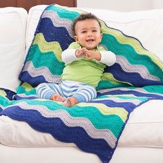 SnapWidget | A classic ripple baby blanket, crocheted in cotton for warm weather. Click on the link in our profile to download the free crochet pattern and buy our yarn, or search for LW4855 Rock Your Baby Blanket on RedHeart.com. #crochet #crochetersofinstagram #freepattern #redheartyarns