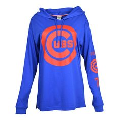 Women's Chicago Cubs PINK by Victoria's Secret Royal Hooded Long Sleeve Campus T-Shirt