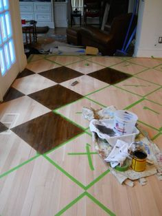 How to paint/stain a pattern on a wood floor by artist Arlene Mcloughlin, would be amazing with a stencil! Wood Floor Design, Painted Wood Floors, Painting Hardwood Floors, Plywood Floors, Diy Flooring, Laminate Flooring, Flooring Ideas, Garage Flooring, Do It Yourself Design