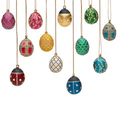 Celebrate the season with our Russian Imperial Mini Egg Ornament Set. Inspired by the designs of Peter Carl Faberge, these delightful ornaments are adapted from his original designs.