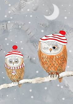 winter owls - I like this because they don't have to be all the same - kids can have fun creating unique hats and scarves
