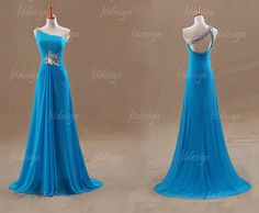 blue prom dress long prom dress chiffon prom dress by fitdesign, $189.00