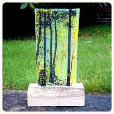 Green forest trees glass art wood