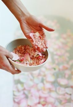 The Local Rose shares a DIY recipe for Valentine's Day Rose Salts, using beautiful blossoms in pink, cream and white from Flower Muse.