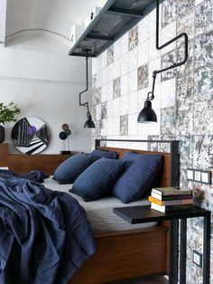 If you are into loft design, then you definitely need to check out this amazing loft apartment from Moscow! The two-story home was designed by Scandinavian Apartment, Scandinavian Home, Large Bookcase, Comfortable Sofa, Loft Design, Interior Exterior, Bed Furniture, Autocad, Decoration