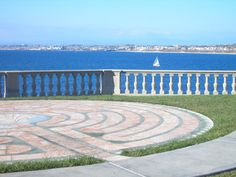 Labyrinth by the Sea. Peaceful holidays. / Neighborhood Church's beautiful marble labyrinth overlooking the sea. Redondo Beach, California