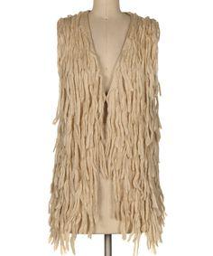 Love this Beige Fringe Open Vest by Fashionomics on #zulily! #zulilyfinds
