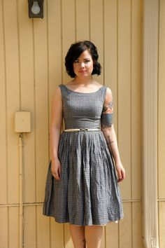 Vintage 50s checkered dress/ Mad Men/ I Love Lucy style/ Metal Zipper on Etsy, $52.00