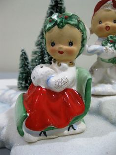 VTG Lefton Christmas Candy Cane Girl Santa Sled Sleigh Salt Pepper.  I have a set of these but his arms have been glued.
