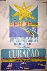 CURACAO in the caribean TRAVEL POSTER