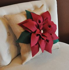 Cranberry Red Poinsettia Flower on Burlap Pillow by bedbuggs, $38.00