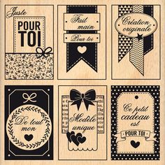 Wooden stamp Labels handmade - 100 x 100 mm - chrisgif Tampon Scrapbooking, Pocket Scrapbooking, Photo Album Scrapbooking, Etiquette Vintage, Get My Life Together, Printable Tags, Printables, Vintage Quotes, Handmade Christmas Gifts