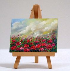 Field of Poppies, 3x4, original, oil paining, impressionism by valdasfineart on Etsy