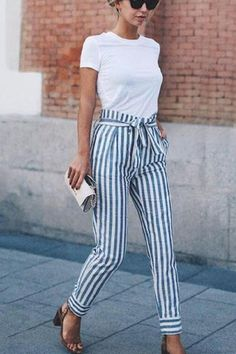 Striped Slim Strap Belt Long Skinny Casual Pants #casualsummeroutfits