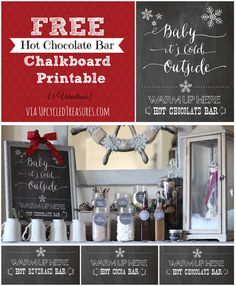 """FREE Hot Chocolate Bar Chalkboard Printables I Upcycled Treasures """"Baby It's Cold Outside"""" Hot Beverage Bar Station for weddings or holiday parties Hot Chocolate Party, Cocoa Party, Christmas Fun, Christmas Cookies, Holiday Fun, Christmas Wedding, Christmas Presents, Xmas, Sweet Party"""