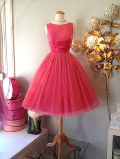 """1960's pink party dress, waist 24""""..."""