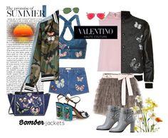 """Valentino Summer Bomber Jackets"" by rehtaeh69 ❤ liked on Polyvore featuring RED Valentino, Valentino, Ray-Ban, valentino and bomberjackets"