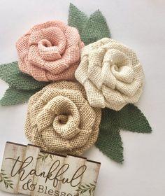 Peach Burlap Flower Trio - Farmhouse Wedding Decorations, Rustic Wedding Decor, Barn Wedding, Country Wedding, Outdoor, Wedding, Rustic