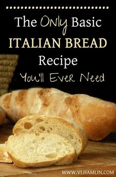 Need a quick and easy bread recipe? This basic Italian bread recipe requires just 6 simple ingredients and it's so delicious! We love to eat Italian food around here and honestly, no bread go… Basic Italian Bread Recipe, Italian Bread Recipes, Homemade French Bread, Artisan Bread Recipes, Bread Machine Recipes, Easy Bread Recipes, Baking Recipes, Italian Cooking, Crusty Italian Bread Machine Recipe