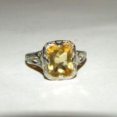 Art Deco 10k White Gold Filigree Citrine Ring, OSTBY BARTON
