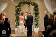 A winter wedding ceremony at The Goei Center.