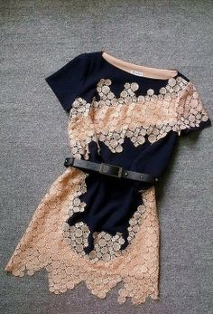 Stylish blouse with lace work and black belt