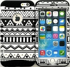 """myLife Stylish Design and Layered Protection Case for iPhone 6 Plus (5.5"""" Inch) by Apple {Obsidian Black and White """"Aztec Tribal Finish"""" Three Piece SECURE-Fit Rubberized Gel} myLife Brand Products http://www.amazon.com/dp/B00PV5DEUC/ref=cm_sw_r_pi_dp_1G2Cub1GZPYGZ"""