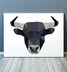 Cute Geometry print. Beautiful Torro poster for your home and office. Lovely Bull art. Nice modern Animal print.  SIZES: A4 (8.3 x 11) and A3