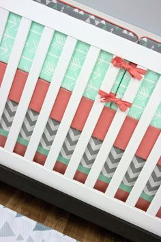 Mint Arrows Baby Bedding Crib Set, Mint Gray Coral Salmon Triangle Arrows…