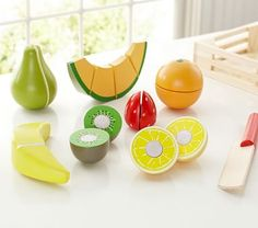 Endless hours of cutting fun! Wooden Fruit Set #pbkids