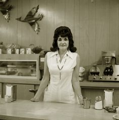 Truckstop waitress, Highway 66, Gallup, New Mexico, 1972, Steve Fitch (her eyebrows!)