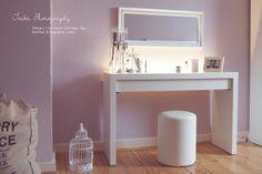 clean white vanity