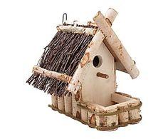 Mangeoire à oiseaux bois de bouleau et branches, naturel - H32