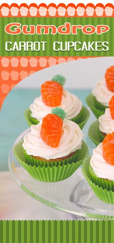Easy Gumdrop Carrot Cupcakes #Easter #spring