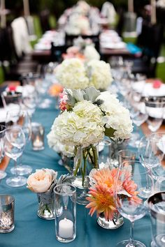 Splash of color with table runner and flowers
