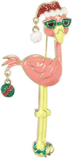 Pink Flamingo Santa Hat Christmas Green Sunglasses Flip Flops Enamel Pin Brooch