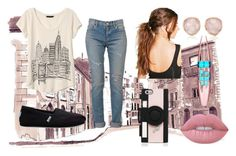 """""""day in the city"""" by mayaandrews88 on Polyvore featuring Banana Republic, Yves Saint Laurent, TOMS, Monica Vinader, Boohoo, Maybelline, Lime Crime and Kate Spade"""