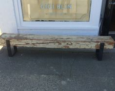 Reclaimed Barn-Wood Bench with Riveted Iron by JSReclaimedWood