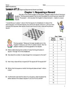 Page 1 - Unit 9 Lesson 7.5 Exponential Growth and Decay Explorations (King and Peasant Story).docx