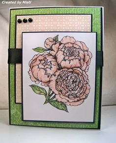 A Card A Day: Power Poppy Sympathy. Peonies Digi Stamp by Power Poppy, Card design by Misti Oblander!